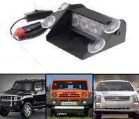 Amber 4 LED Warning Hazard Emergency Beacon Truck Car Flashing Strobe Light Bar