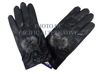 1 paire de Gants noir en cuir pour FEMME fille taille M hiver pompon gloves NEUF