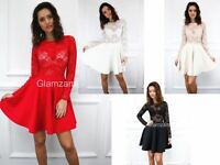 New Womens Ladies Long Sleeve Sheer Lace Bodice Skater Mini Glam Party Dress