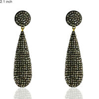 10.33 ct Pave Diamond Gold Sterling Silver Vintage Look Dangle Earrings Jewelry