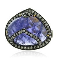 0.60ct Pave Diamond 18k Gold Tanzanite 925 Sterling Silver Designer Ring Jewelry