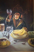 """Art oil painting:Animal monkey drink with fruit  24x36"""""""