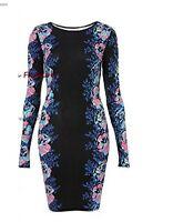 Women Long Sleeve Flower Print Bodycon Dress Black Celeb Evening/Party Skirt TOP