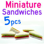 Dollhouse Miniature Kitchen Food 5 x Vegetable Cheese Ham Sandwiches