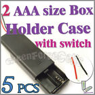 5 x 2 AAA Battery 3V Clip Storage Case Box Holder Wire Leads w/ ON/OFF Switch