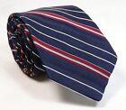 "Vintage 1980s Tie Navy Blue Stripe SHORT 53"" Skinny Narrow Necktie"