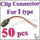 50 pcs I Type 9V 9 Volt Battery Snap On Clip Connector With Cable