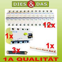 Sicherungsautomat B 16 A 12x + FI Schalter 40/0,03A + Brücke + Schiene Moeller
