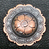 """WESTERN HEADSTALL SADDLE FLOWER CONCHO COPPER COLOR 1-1/2"""" screw back"""