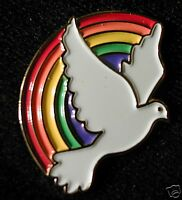 Rainbow and Dove Lapel Christian witness Pin