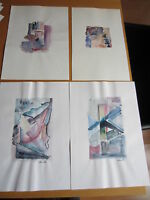 4 Aquarelle Anneliese Hadler, Viersen,  29,5 x 18 cm Aquarell