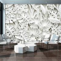 POSTER TAPETEN FOTOTAPETE WANDBILD FOTO  3D Abstraktion Weiss Blumen 10052 P8
