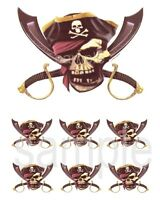 Pirate Skull Edible Party Cake Image Cupcake Topper Frosting Icing Sheet