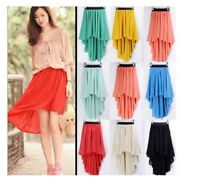 Asym Hem Chiffon Skirt High Low Asymmetrical Long Maxi Dress Elastic Waist Irreg