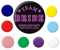 TEAM BRIDE HEN PARTY BUTTON BADGE BADGES WEDDING FUN HEN STAG PERSONALISED NEW