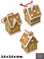 Gisela Graham Gingerbread House Tree Decoration 3D Christmas Xmas Ornament 5.5cm