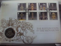 2010 UK Restoration of Monarchy Coin/Stamps FDC £5 coin. LTD Edition scarce set