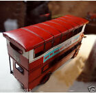 * * Old-fashioned Red Iron Sheet Double Bus Model Decoration Photography Props
