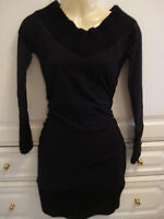 Vintage Womens Modo Cute Black mini Dress Cotton Top Wool Knit Small/Medium 8 UK