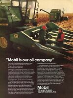 1981 Mobil Oil w 15yr Old John Deere Combine 6600 Farm Tractor Print Ad