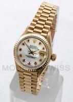 Rolex Ladies President 18K Yellow Gold MOP Ruby Diamond Fluted 69178 Quickset 2Y