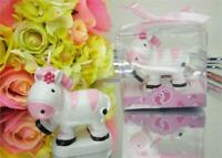Safary Baby Zebra Candle - Baby Shower Favor Cake Topper Pink - 12 pcs