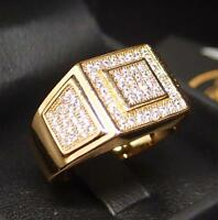 GEBLING CZ AAA Micropave 24K Yellow/White Gold Filled Crystal Men Ring R53 9-12#