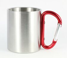 RED CARABINER MUG 8 OUNCE - Stainless Steel Double Wall Insulated, Coffee, Tea