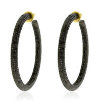 15.49ct Pave Diamond 14k Gold 925 Sterling Silver Handmade Hoop Earrings Jewelry