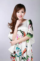 Ladies Satin Sleepwear Pyjama Nightdress Koi Flower Oriental Kaftan Negligee