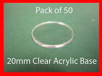 20mm Clear Acrylic Bases - Laser Cut- Pack 50 - War Games Role Playing Warhammer