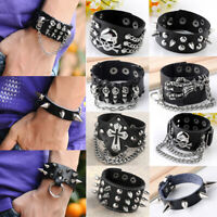 Punk Gothic Mens Biker Spike Skull Wide Cowhide Leather Cuff Bracelet Bangle