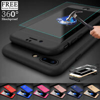 For Apple iPhone X 8 Hybrid 360° Shockproof Case With Tempered Glass Case Cover
