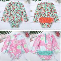 Little Baby Girls Long Sleeve Sunsuit UPF Rash Guard Swimsuit Swimwear Beachwear