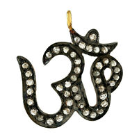 0.71ct Diamond 14kt Gold 925 Sterling Silver Om Design Pendant Religious Jewelry