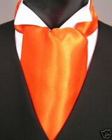 Orange cravat/ruche w matching handkerchief, self-tie