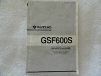 2001  2002  Suzuki  GSF600  Owners Manual  GSF 600 S