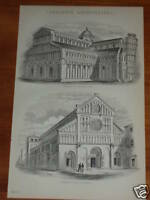 Print over 125 years old Lombardic Architecture