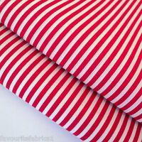 RED WHITE STRIPE CHRISTMAS COTTON POLY FABRIC per m
