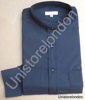 Shirt Grandad collar Black with pocket Long Sleeve R662