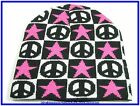 Black White Checkered Pink Stars & Peace Beanie Hat Cap Ski Winter Wear Unisex