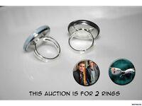 Vampire Diaries DAMON Salvatore Stefan Salvatore set of 2 adjustable rings