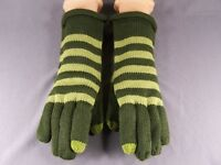 Olive Green Smart Tips phone touchscreen compatible knit winter gloves womens