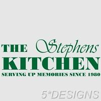 PERSONALISED KITCHEN FAMILY NAME WALL ART STICKER VINYL DECAL TEXT DECOR