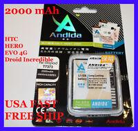 2000 mAh HTC Evo Shift 4G, HTC Evo 4G, Extended Slim Battery High capacity