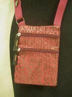 "Burgundy Red Print Messenger Shoulder HandBags Crossbody Women's Bag 5""W x 6""H"