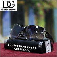 NEW Shield Womens DG Eyewear SUNGLASSES Fashion Trendy Chrome / Black T SHADES