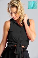 Womens Sleeveless Sheer Tie Waist Plain Blouse Shirt Ladies Brand New Size 8-14