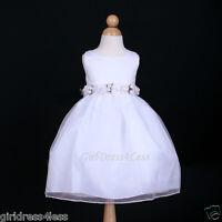 WHITE WEDDING PARTY RECITAL FAIRY FORMAL FLOWER GIRL DRESS 2/2T 3/4 5/6 7/8 9/10