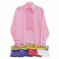 Mens Satin Ruffle 50's 60's 70's Austin Powers Disco Fancy Dress Costume Shirt